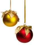 Red and golden christmas  balls. Hanging on ribbons Stock Photography