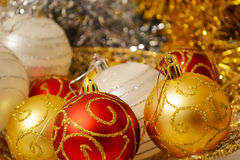 Red and golden Christmas balls Royalty Free Stock Photos