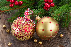 Red and golden christmas balls Stock Images