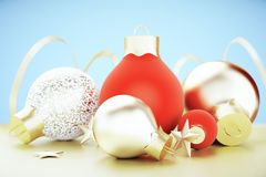 Red and golden christmas balls and stars Royalty Free Stock Photography
