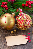 Red and golden christmas balls Stock Image