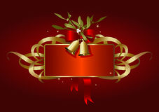 Red and golden christmas-banner. Holiday-banner with bells, bow and mistletoe Royalty Free Stock Images