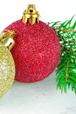 Red and golden Christmas baubles stock photos