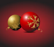 Red and golden Christmas bulbs Stock Image