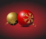 Red and golden Christmas bulbs Stock Image
