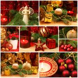 Red and golden Christmas collage. Christmas collage of golden and red decorations Stock Image