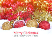 Red and golden Christmas decorations Royalty Free Stock Images