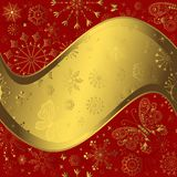 Red and golden christmas frame Royalty Free Stock Images