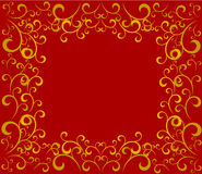 Red golden Christmas frame Stock Photos