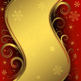Red and golden christmas frame (vector) stock illustration