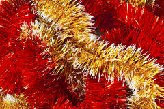 Red and Golden christmas garland Stock Photo