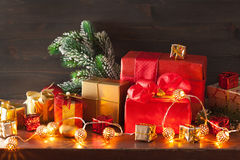 Red and golden christmas gift box and decoration Stock Photo