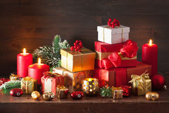 Red and golden christmas gift box and decoration lantern candle Royalty Free Stock Photos