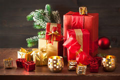 Red and golden christmas gift box and decoration lantern candle Stock Images