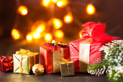 Red and golden christmas gift box and decoration lantern candle Stock Photography