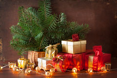 Red and golden christmas gift box and decoration lantern candle Stock Image