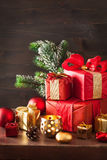 Red and golden christmas gift box and decoration lantern candle Royalty Free Stock Photo