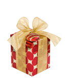 Red and golden Christmas gift box Stock Photo