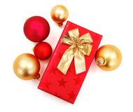 Red and golden Christmas gift and decoration Royalty Free Stock Photos