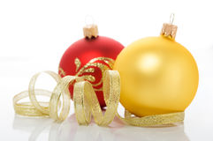 Red and golden christmas ornaments Stock Image