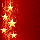 Red golden Christmas stars. Christmas background with shiny golden stars, snow flakes and grunge elements for your festive occasions Royalty Free Stock Image