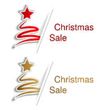 Red and golden Christmas tree with label for advertising text on the white background, stickers with shadow Stock Photo
