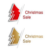 Red and golden Christmas tree with label for advertising text on the white background, stickers with shadow Royalty Free Stock Photos