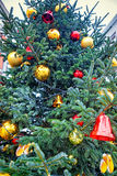 Red and golden decorating bells and balls on the christmas tree Royalty Free Stock Images