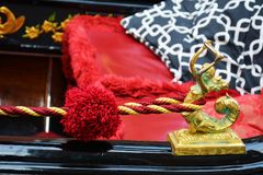 Red and golden detail of gondola, Venice, Italy Stock Photography