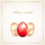 Red and golden Easter eggs Royalty Free Stock Photos