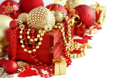 Red and golden festive christmas decorations. Isolated on white Stock Photo