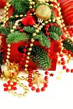Red and golden festive christmas decorations. Isolated on white Stock Photography
