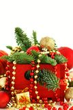 Red and golden festive christmas decorations. Isolated on white Royalty Free Stock Photos