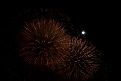 Red and golden fireworks at night background with moon Stock Photography