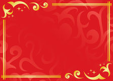 red and golden frame - vector Royalty Free Stock Image