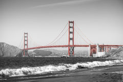 Red Golden Gate Bridge in San Francisco. Royalty Free Stock Images