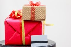 Two gift boxes red and golden Stock Images