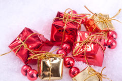 Red and golden gift boxes Royalty Free Stock Photography