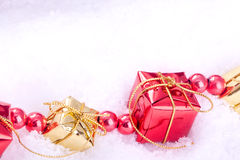 Red and golden gift boxes Royalty Free Stock Images