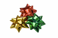 Red, golden, green bows Royalty Free Stock Photo