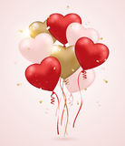 Red and golden heart balloons Stock Photography