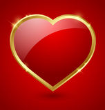 Red and golden heart Stock Images