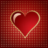 Red golden heart on a gradient halftone Royalty Free Stock Images