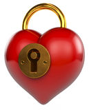 Red and golden heart lock Royalty Free Stock Image