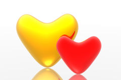 Red and golden hearts Stock Photo