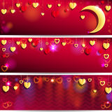 Red and Golden Hearts. Stock Photo