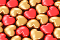Red and golden hearts Royalty Free Stock Photos