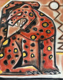 Red and golden jaguar drawing Stock Images