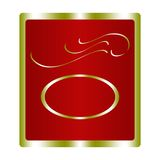 Red and Golden Label. With oval and swirls Royalty Free Stock Photos