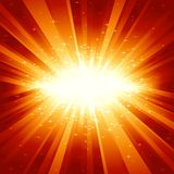 Red golden light burst with stars Royalty Free Stock Photography